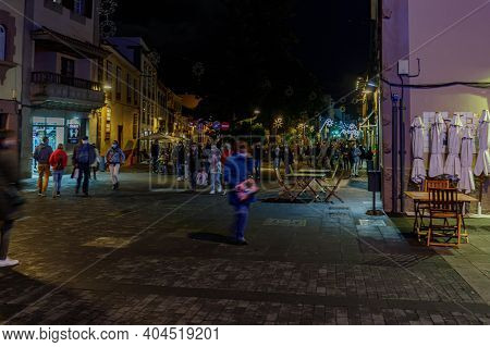 La Laguna, Tenerife, Spain - November 28, 2020: Night Streets Decorated For Christmas And New Year D