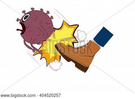 Screaming Kicked Covid-19 Vector Eps10, Coronavirus, Isolated On White