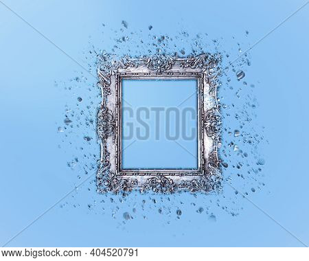 Old Silver Frame On A Light Blue Background, Dispersion Effect