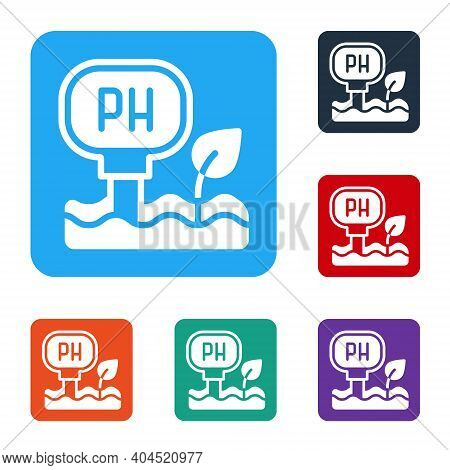 White Soil Ph Testing Icon Isolated On White Background. Ph Earth Test. Set Icons In Color Square Bu