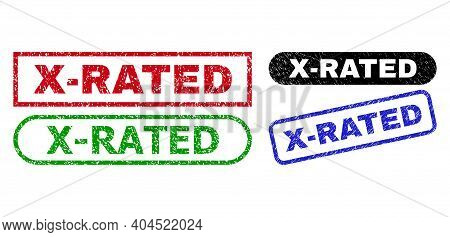 X-rated Grunge Stamps. Flat Vector Grunge Stamps With X-rated Title Inside Different Rectangle And R