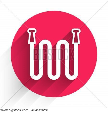 White Garden Hose Icon Isolated With Long Shadow. Spray Gun Icon. Watering Equipment. Red Circle But