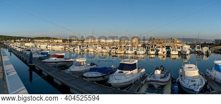 Barbate, Andalusia - 18 January, 2021: Panorama View Of The Marina And Harbor In Barbate At Sunset