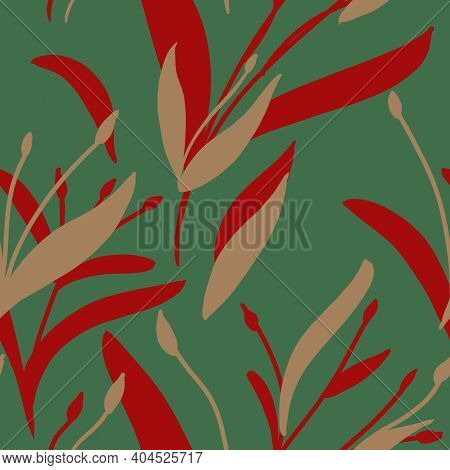 Seamless Pattern With Hand-drawn Red And Beige Plants And Branches On Green Background. Elegant Line
