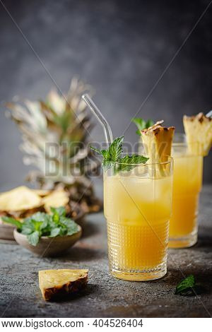 Fresh Pineapple Cocktail In The Glass With Ice And Mint, Summer Drink
