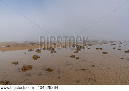 The Endless Ocean Floor Uncovered At Low Tide With Sand Structures And Rocks And Tidal Pools Under L