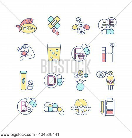 Vitamin Supplements Rgb Color Icons Set. Multivitamin, Multimineral Pharmaceutical Intake. Health Ca