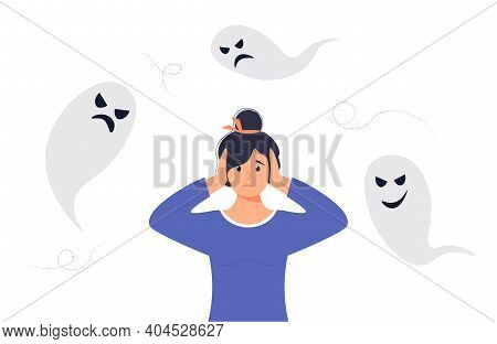 Anxiety Or Fears Concept. Negative Thoughts Around The Woman. Anxiety Or Panic. The Woman Covers Her