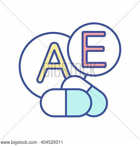 A, E Vitamins Daily Intake Rgb Color Icon. Multi Mineral Complex. Health Care. Medicament, Pills For