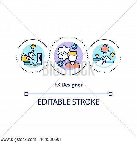 Fx Designer Concept Icon. Creating Visual Experiences In Video Games Idea Thin Line Illustration. Ga