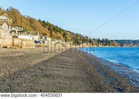Shoreline At Low Tide In Burien, Washington.
