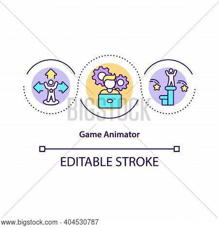 Game Animator Concept Icon. Multimedia Artist Idea Thin Line Illustration. Combining Art And Technol