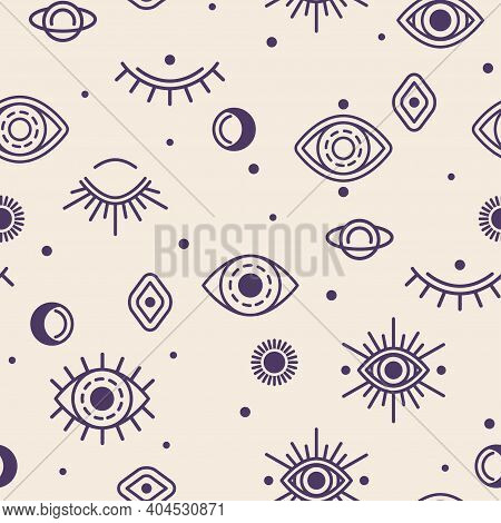 Seamless Pattern With Close And Open Eye, Moon And Sun. Vector Illustration. Alchemy Symbols, Occult