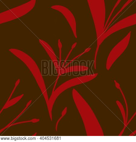 Seamless Pattern With Hand-drawn Plants And Branches On Brown Background. Linen, Bedclothing, Print,