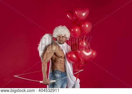 Handsome Man Angel. Valentines Day Concept. Sexy Athlete Guy With Angels Wings. Cupid. Amour. Februa