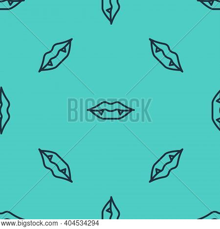 Black Line Vampire Teeth Icon Isolated Seamless Pattern On Green Background. Happy Halloween Party.