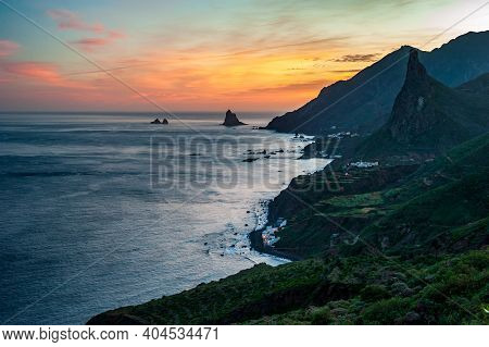 Sunset At Roque En Taganana, Landscapes Of Taganana In Tenerife, Spain, Canary Islands. Hiking From