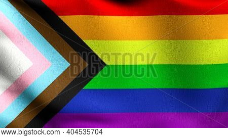 Gay Flag, Lgbt, Or Rainbow Flag. Pride Symbol Blowing In The Wind Isolated. Official Patriotic Abstr