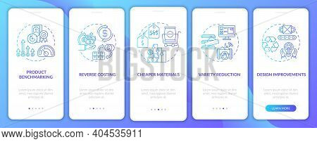Cost Reduction Strategies Dark Blue Onboarding Mobile App Page Screen With Concepts. Product Benchma