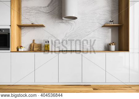 Wooden And White Minimalist Kitchen Set With Hood, Stove And Oven, Kitchen Appliances On Table. Brow