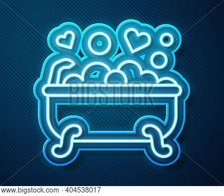 Glowing Neon Line Romantic In Bathroom Icon Isolated On Blue Background. Concept Romantic Date. Roma