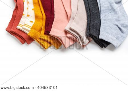 Several New Socks From Thin Jersey Isolated On A White Background.