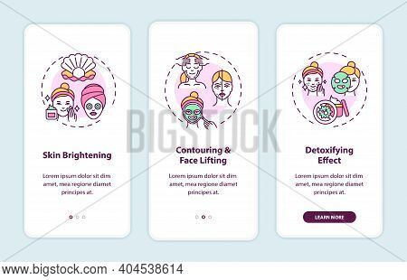 Face Mask Effects Onboarding Mobile App Page Screen With Concepts. Skin Brightening, Face Lifting Wa