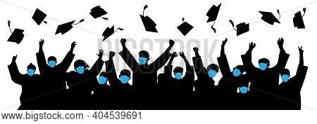 Masked Graduates. Graduates Throwing Cap. Crowd Of Students. Graduates In An Era Of Pandemic Covid-1