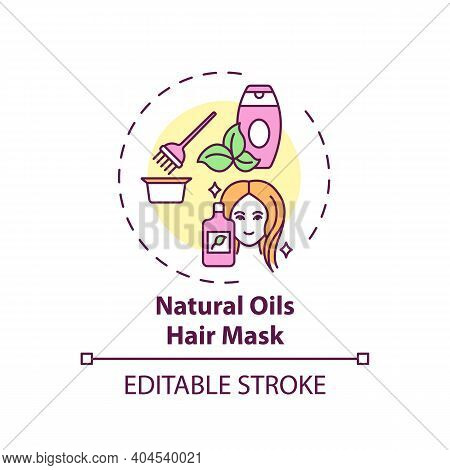 Natural Oils Hair Mask Concept Icon. Home Beauty Treatment Idea Thin Line Illustration. Nourishing A
