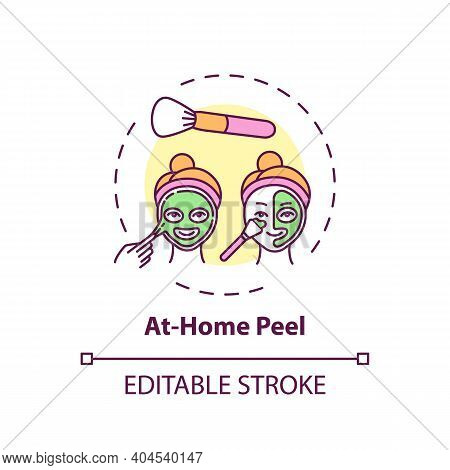 At-home Peel Concept Icon. Home Beauty Treatment Idea Thin Line Illustration. Reducing Dull, Dead Sk