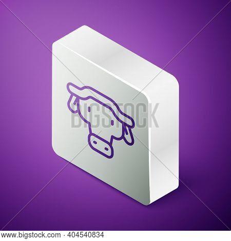 Isometric Line African Buffalo Head Icon Isolated On Purple Background. Mascot, African Savanna Anim