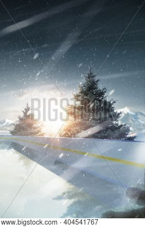 Rink. Vertical Banner. Sunset In The Mountains. 3d Rendering. Spruce Trees Around The Rink