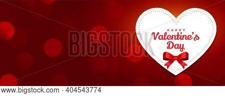 Happy Valentines Day Red Bokeh Banner Design