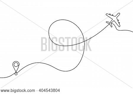 Continuous One Line Drawing Of Airplane Path. One Single Line Air Plane Route With A Start Point And