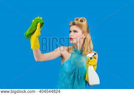 Cleaning. Pin Up Woman With Cleaning Products. Retro Style. Pin Up Woman With Cleaning Tools. Retro