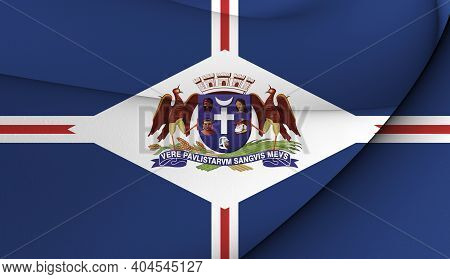 3d Flag Of Guarulhos (sao Paulo State), Brazil. 3d Illustration.