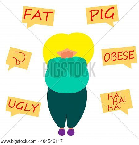 A Blonde Fat Women Listens To Insults And Cries. It Can Be Used For Websites, Banners, Postcards, Co