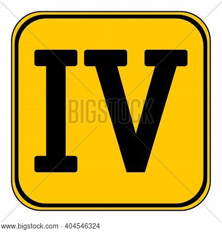 Roman Numeral Four Button On White Background. Vector Illustration.