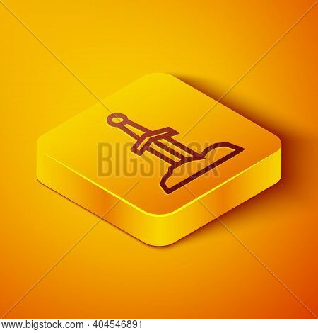 Isometric Line Sword In The Stone Icon Isolated On Orange Background. Excalibur The Sword In The Sto