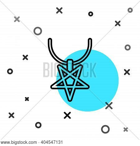 Black Line Pentagram On Necklace Icon Isolated On White Background. Magic Occult Star Symbol. Random