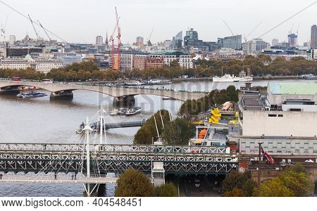 London, United Kingdom - October 31, 2017: London Cityscape, Aerial View Showing Hungerford Bridge A
