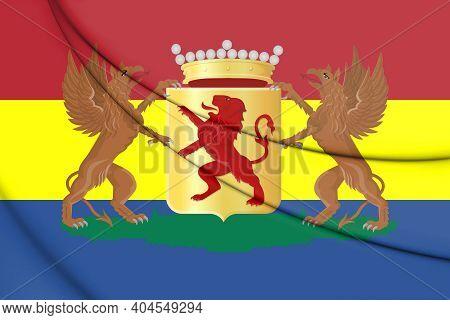 3d Flag Of Vlaardingen (south Holland), Netherlands. 3d Illustration.