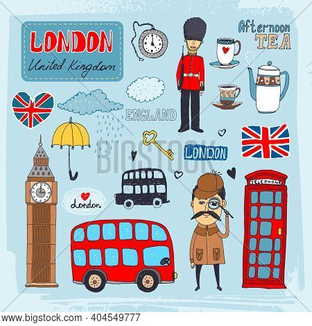 Set Of Hand-drawn Illustrations Of London Landmarks And Iconic Symbols Including Beefeater Guard  Bi