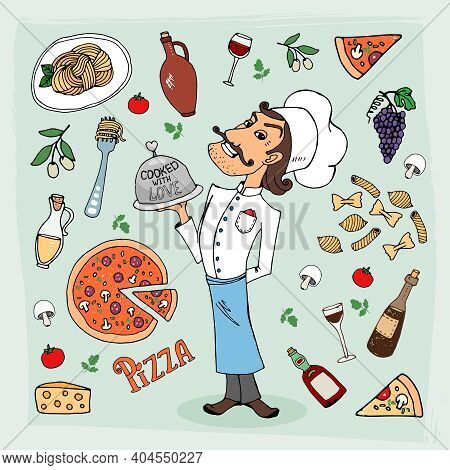Italian Cuisine And Food Hand-drawn Illustration With A Handsome Chef In A Toque Holding A Food Dome