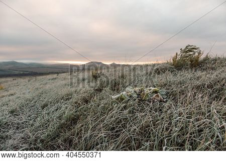Grass With Frost In A Field At Dawn. Dawn In Autumn Field. Hills In Morning Haze. Grass Covered With