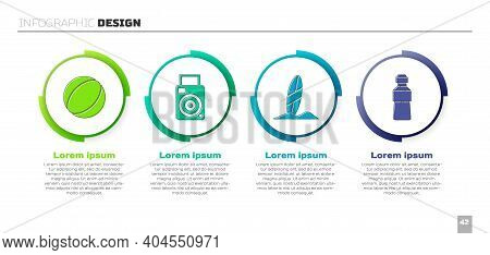 Set Beach Ball, Photo Camera, Surfboard And Bottle Of Water. Business Infographic Template. Vector