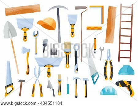 Builder Instrument. Big Flat Icon Collection Of Hand And Power Electric Tools For Construction Worke