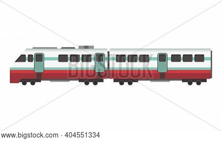 Passenger Express Train. Railway Carriage. Cartoon Subway Or High Speed Train. Vector Icon For Web D