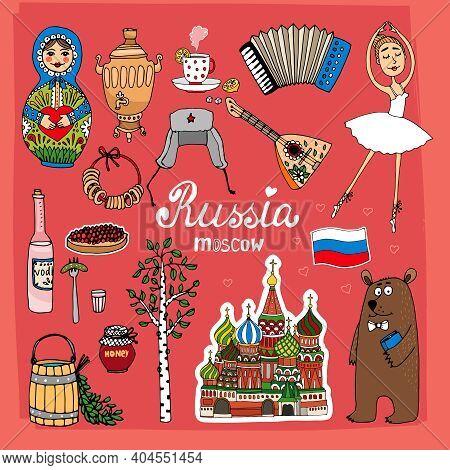Landmarks Of Russia With St. Basil's Cathedral, Balalaika, Birch, Samovar And Bear Vector Eps10 Illu