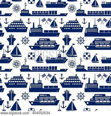 Ships And Boats Marine Seamless Background Pattern With Silhouette Vector Icons Of A Cruise Liner  Y